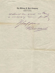 William S. Hart - Autograph Letter Signed 02/05/1930