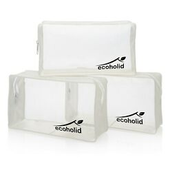 Ecoholid Clear Cosmetic Zipper Bag 7x4x2 Makeup Toiletry Travel PACK OF 3 $12.99