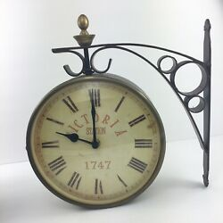 Victoria Station 1747 Railway Wall Clock Vtg Look Double Sided Analog Read