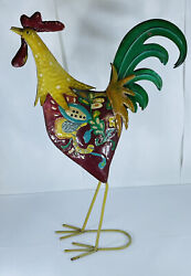 Metal Cut Colorful Tin 24.5 Rooster Chicken Lawn Ornament Dandeacutecor