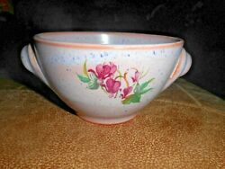 Pottery Deep Bowl Red Clay Hand Crafted Vintage Bleeding Heart Design Not Marked