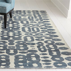 Area Rugs 9and039 X 12and039 Orlo Blue Artisan Hand Tufted Crate And Barrel Rayon Carpet
