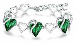 Infinity Love Heart Link Bracelet With Birthstone 05-may-emerald Green