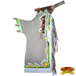 C-h801 Hilason Bronc Bull Riding Genuine Leather Rodeo Western Chaps White Green