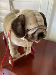 North American Bear Co. Pull-a-long Pug Dog Plush Toy 15'' New/tags Vintage 1997