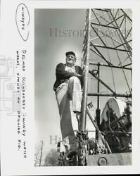 Press Photo Delmar Windhorst Of Windy Water Works Stands On Drilling Rig