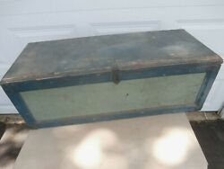 Vintage Large Blue Green Painted Wooden Tool Box Chest