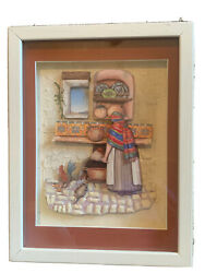 Diorama Shadow Box By Shirlee Native American Woman In Kitchen Under Glass Euc