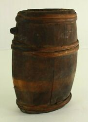 = Antique Late 18th C. Revolutionary War Staved Wooden Canteen Small For Spirits
