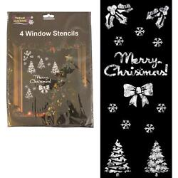 Pack Of 4 Plastic Christmas Window Artificial Snow Stencil Sheets