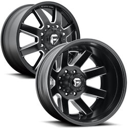 Set Of 6-22 Inch Fuel D538 Maverick Dually 8x170 Black/milled Wheels Rims