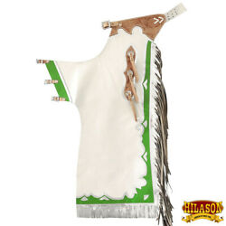 C-227n Hilason Pro Rodeo Bronc Bull-riding Show Genuine Leather Chaps - White