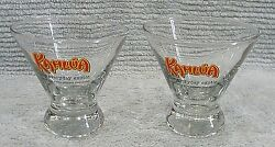 Pair Vintage 1990s Kahlua 4 Funnel Tapered Drink Glass Everyday Exotic Free S/h