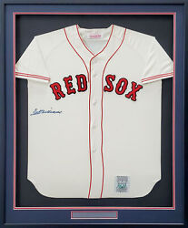 Red Sox Ted Williams Auto Framed White Mitchell And Ness Jersey Beckett Aa01158