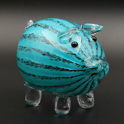 Adorable Murano Style Paperweight Art Glass Figure Pig Piggy Animal Teal Stripes
