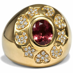 Italy Um 1995 Vintage Amethyst Diamond Ring In 750 Gold, Amore Pasquale Bruni