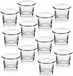 LETINE Tealight Candle Holder Set of 12 Clear Glass Votive Candle Holders Bulk
