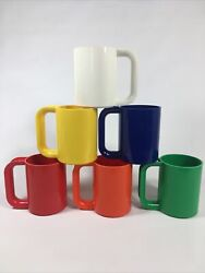 Set Of 6 Massimo Vignelli Heller Rainbow Cups Mugs Made In Usa Melamine