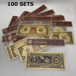 100 Sets Beautiful Wow Dogecoin Gold Banknote In Good Selling Display Bag Sleeve