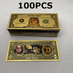 100 Pcs Beautiful Wow Cute Dogecoin Gold Banknote Dog Printing D Collection