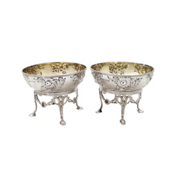 Pair Of Antique Edwardian Sterling Silver Dishes/bowls On Stands - 1901