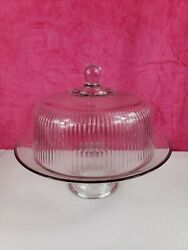 Vtg Clear Glass 12⅞ Andldquo Cake Plate With Heavy Dome Cover On Pedestal Base/stand