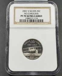 2001 S North Carolina Silver Proof State Statehood Quarter Coin Ngc Pf70 Ucam