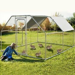 Petsjoy Large Walk In Chicken Coop Run House Shade Cage 9.5and039x12.5and039 W/ Roof Cover