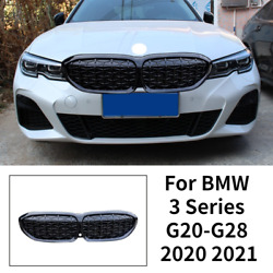 For Bmw G20-g28 2020+ Diamond Style Front Grille Grill Gloss Black W/camera Abs