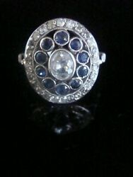 Edwardian Large French Platinum Natural Sapphire And Diamond Cluster Ring