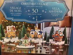 Rare Christmas Village With Lighted Gazebo And Music 30 Piece Unused Brand New