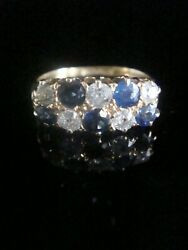 Edwardian 18ct Yellow Gold Old Cut Diamond And Natural Sapphire Boat Stacking Ri