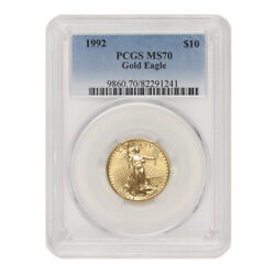1992 10 Gold Eagle Pcgs Ms70 Modern Issue Graded American Bullion 1/4oz Coin