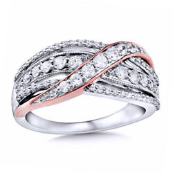 3/4 Ct Natural Diamond Crossover Ring In 10k White Gold And 10k Rose Gold Plate