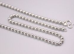 New Pure Platinum 950 Classic 3.5mm Bead Link Chain Necklace Pt950 21.2inch