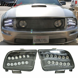 Fits 05-09 Ford Mustang High Power Led Projector Headlights Black Housing