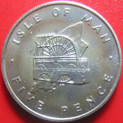 1976 Isle Of Man 5 Pence Silver Bu Laxey Wheel Golden Toned Fields Rare 23.5mm