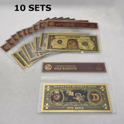 10 Sets Beautiful Wow Dogecoin Gold Banknote In Good Selling Display Bag Sleeve