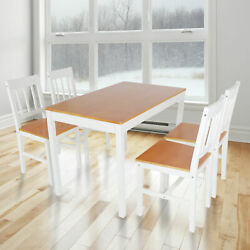 5 Piece Dining Table Set And 4 Chairs Pine Wood Kitchen Room Home Furniture