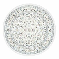 9and0399x9and0399 Wool And Silk Round 250 Kpsi Nain Ivory Hand Knotted Oriental Rug R62768