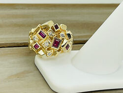 Vintage Pacg 14kt Yellow Gold .15cttw Diamond And Lab Created Ruby Nugget Ring