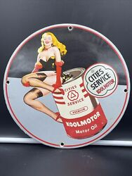 Vintage Style ''cities Service'' Motor Oil Porcelain Pump Plate 12 Inch