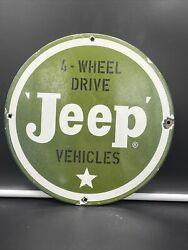 Vintage Style And039and039jeep And039and039 Dealer Porcelain Pump Plate 12 Inch 4 Wheel Driveandnbsp