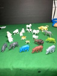 Vintage Farm Animals And Zoo Animals Plastic Figures Marx Hong Kong Mpc Lot Of 20
