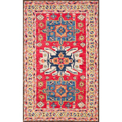 Nuloom Area Rug 8 Ft. X 10 Ft. Canvas Back Tufted Weave Wool Spot Clean Red