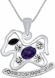 Simulated Amethyst Horse Toy Pendant With Channel Set In 14k Gold Over