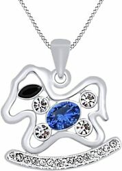Simulated Blue Sapphire Horse Toy Pendant With Channel Set 14k Gold Over