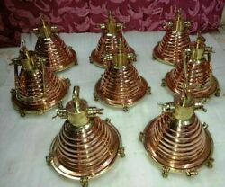Hanging Cargo Pendant Spot Light Style Nautical Brass And Copper 8 Piece