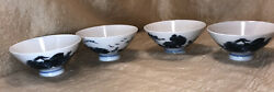 4 Vintage Never Been Used Japanese Rice Bowls Blue And White Village At The Ocean