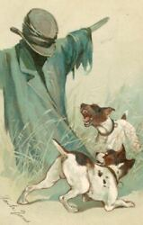 Chromolitho EMBOSSED Dog amp; Scarecrow Postcard Jack Russell Terrier Germany c1912